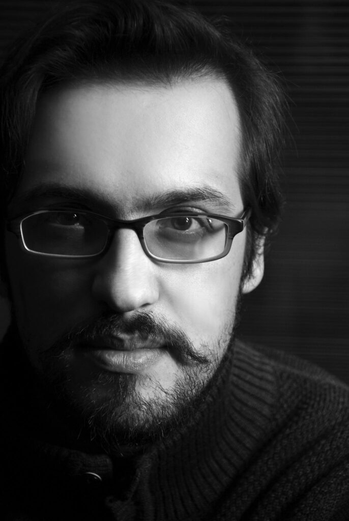Filippo Civran fotografato in primo piano in bianco e nero da Enrico Frignani