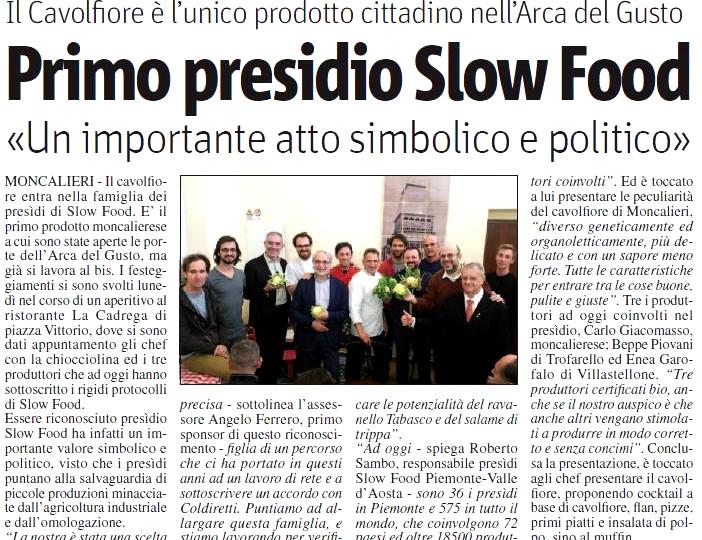 Articolo di quotidiano con Filippo Civran invitato da Slow Food per la presentazione del nuovo Presidio Slow Food con la partecipazione delle autorità locali
