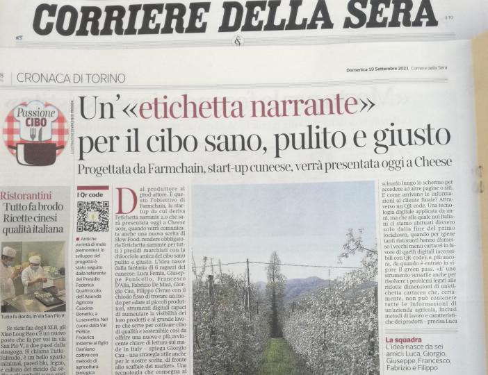 Farmchain pubblicata sul Corriere della Sera